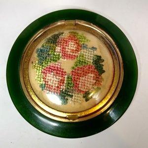 Bakelite and floral needlework makeup compact